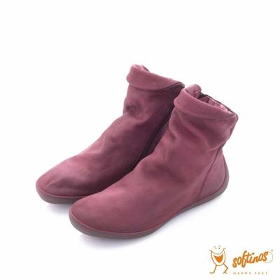 Softinos(女) HAPPY FEET 直套可折式造型中筒靴 - 紫魅紅