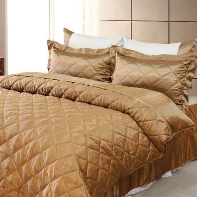 LAMINA 雙色亮面精梳棉六件式床罩組-可可咖(雙人)