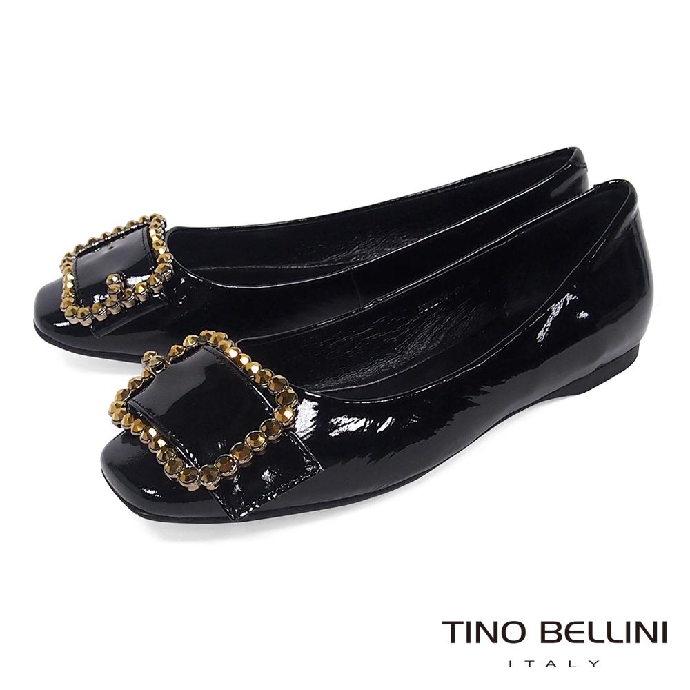 Tino Bellini 搶眼亮鑽釦帶小方頭娃鞋_ 黑