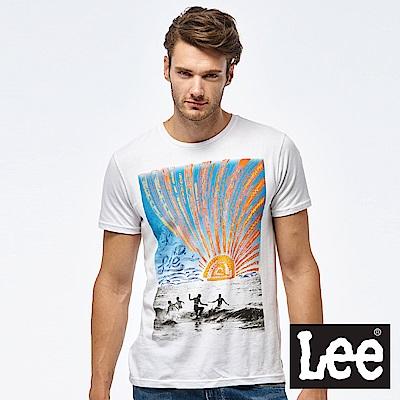 Lee 照片與手繪圖騰短袖圓領TEE-男款-白