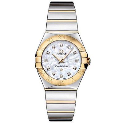Omega 歐米茄 星座系列鑽石白色珍珠貝殼面石英腕錶-27mm