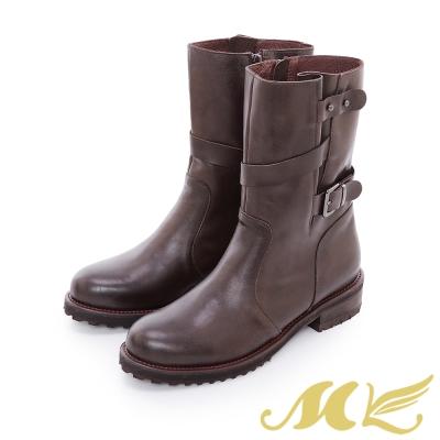MK-台灣全真皮-中統寬口繞帶平底粗跟短靴-咖啡