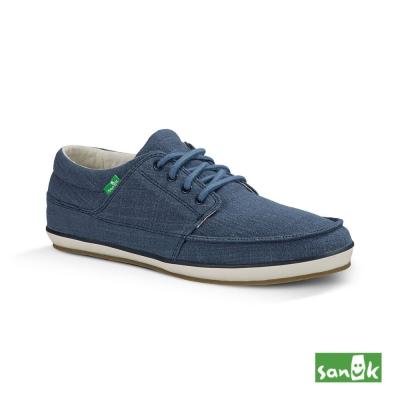 SANUK 素面舒適綁帶休閒鞋-男款(藍色)