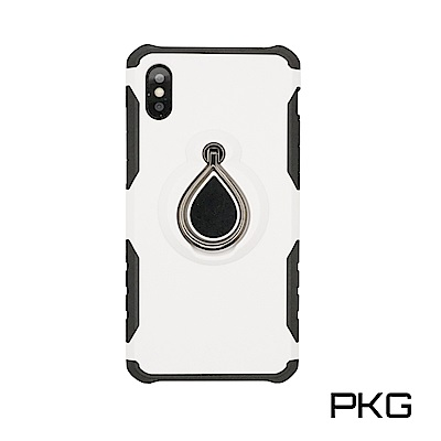 PKG  IPhone X 抗震防護手機殼-支援磁吸車架功能-白色