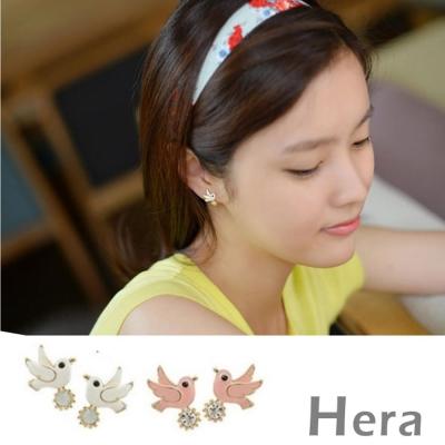 Hera 赫拉 赫拉 釉彩鴿子水鑽無耳洞耳環/耳扣/耳骨夾-2色(1對入)