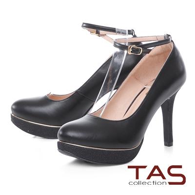 TAS 兩穿式亮粉拼接金屬邊條踝繫帶高跟鞋-性感黑