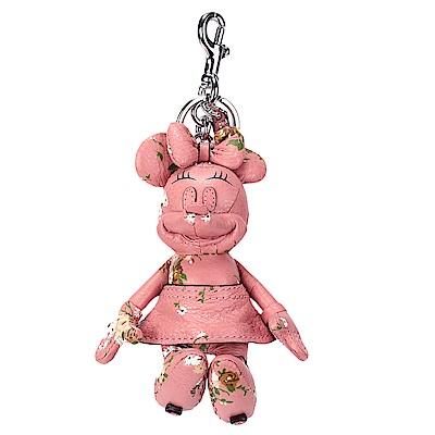 COACH DISNEY MINNIE米妮玩偶造型花花皮革鑰匙圈-粉紅色