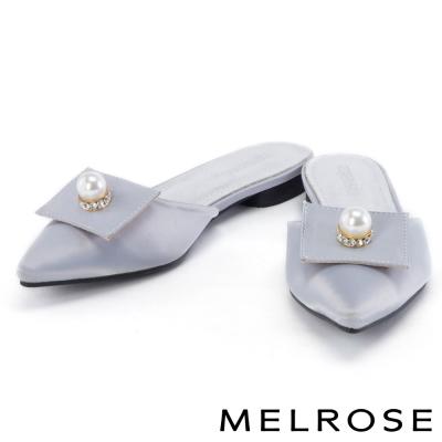 拖鞋 MELROSE 珍珠水鑽緞布尖頭平底拖鞋-灰
