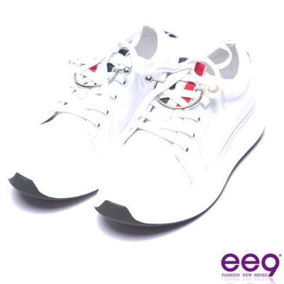 ee9 率性焦點青春熱力百搭真皮綁帶厚底休閒鞋-白色