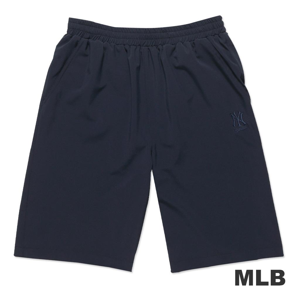 MLB-紐約洋基隊素面休閒繡花短褲-深藍(男)
