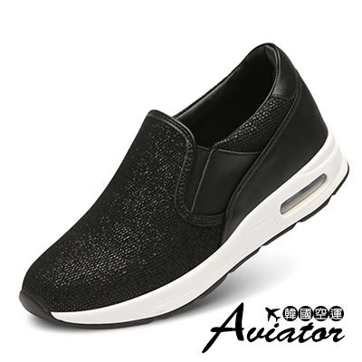 Aviator韓國空運-PAPERPLANES正韓製金蔥織紋鬆緊氣墊休閒鞋-黑