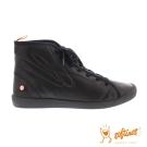 SOFTINOS (女) 超軟牛皮高筒休閒鞋-黑