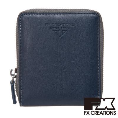 FX CREATIONS Lajos系列 二折拉鍊短夾-深藍 LWW21445-98