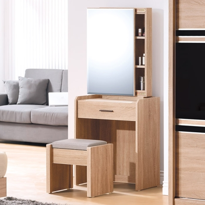 Boden-路克2尺北歐風化妝桌/鏡台(贈化妝椅)-61x41x152cm