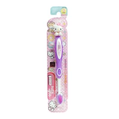 韓國製 Hello Kitty卡通兒童立體牙刷第3階段(6-12歲)-紫