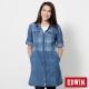 EDWIN 江戶勝 格紋長版牛仔襯衫-女-漂淺藍 product thumbnail 1