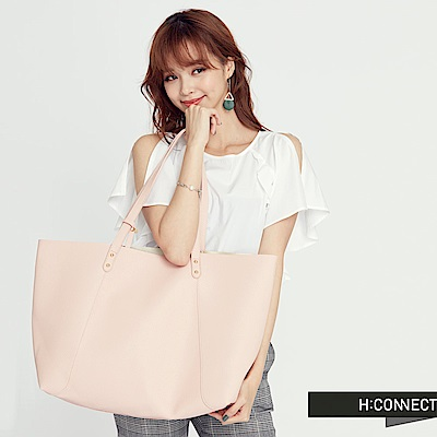 H:CONNECT 韓國品牌 皮革子母托特包-粉