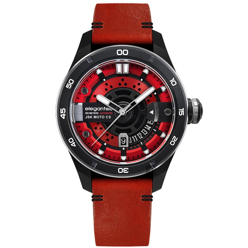 elegantsis x JSK moto JX65AS 聯名限量機械錶-烈焰紅/48mm
