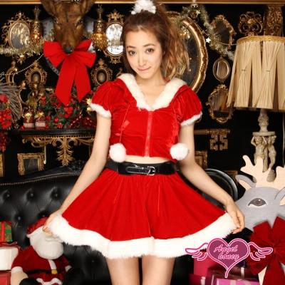 耶誕服 俏皮少女 短袖聖誕舞會角色扮演服(紅F)  AngelHoney天使霓裳