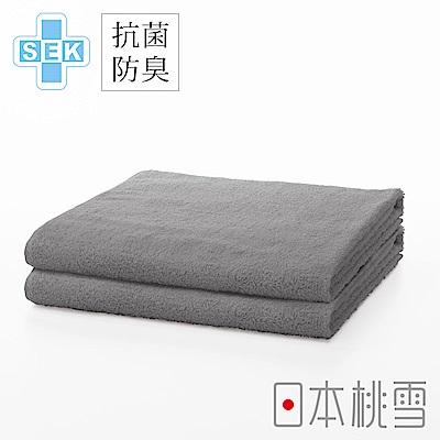日本桃雪SEK抗菌防臭運動大毛巾超值兩件組(極簡灰)