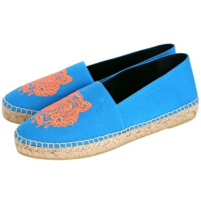 KENZO Tiger Espadrilles 霓虹老虎刺繡帆布草編便鞋(女/亮藍)