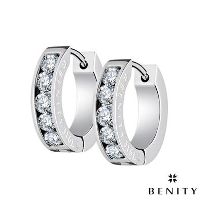 BENITY 韶光 白鑽款 316白鋼/西德鋼 八心八箭cz美鑽 圈型耳環