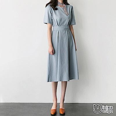 棉麻復古高腰繫帶中長款洋裝 淺藍-mini嚴選