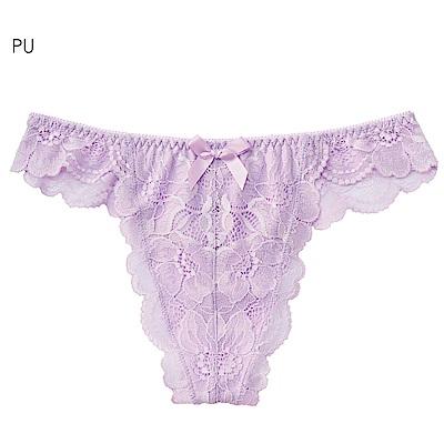 aimerfeel 淑女蕾絲交叉包覆丁字褲-紫色
