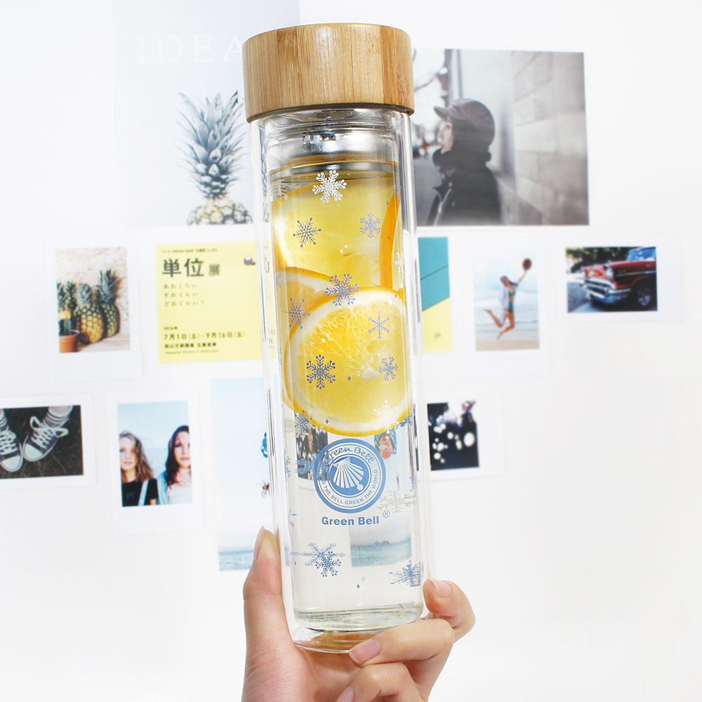 GREEN BELL綠貝 Season雙層玻璃水瓶500ml(冬雪藍)