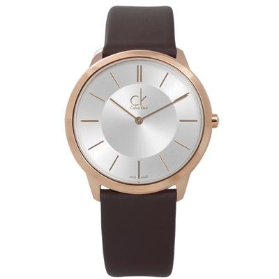 CK 時尚曼哈頓簡約風皮革腕錶 - 銀x玫瑰金框x深褐/39mm