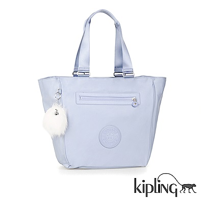 Kipling 手提包 寧靜藍素面-大