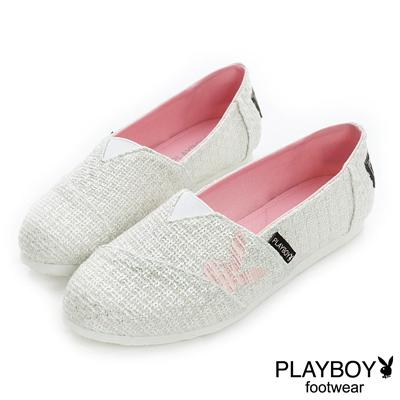 PLAYBOY-溫柔步調-燙金毛呢電繡兔頭便鞋-白-女