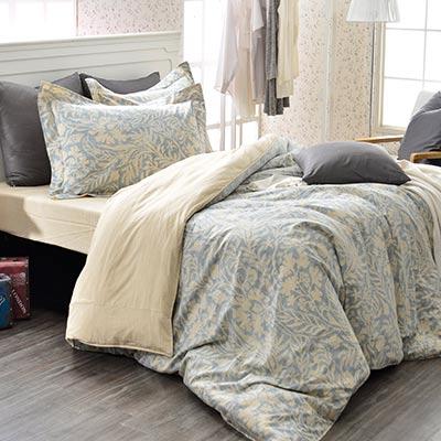 義大利La Belle 雙人純棉防蹣抗菌吸濕排汗兩用被床包組-諾曼亞