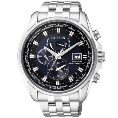 CITIZEN 光動能電波世界時區錶(AT9031-52L)-藍/44mm