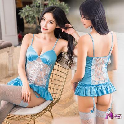 馬甲 藍色愛戀緹花刺繡馬甲吊襪帶四件組(白+藍F) Moira