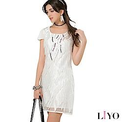 LIYO理優歐風V領立體蕾絲洋裝(白)