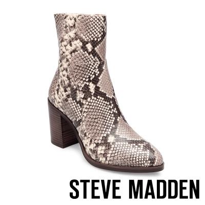 STEVE MADDEN-REWIND-SNAKE-時尚簡約粗跟短靴-蛇紋