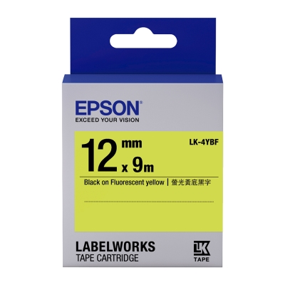 EPSON C53S654417 LK-4YBF螢光系列黃底黑字標籤帶(寬度12mm)