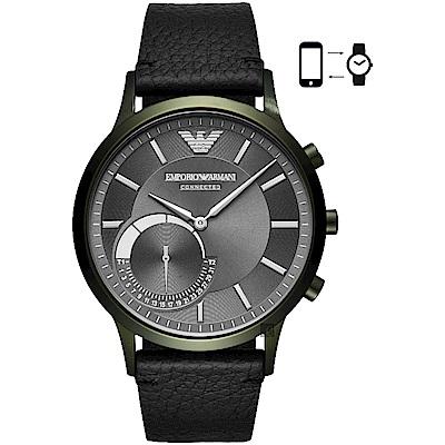 Emporio Armani Connected Hybrid 指針智慧錶-灰x綠框x黑