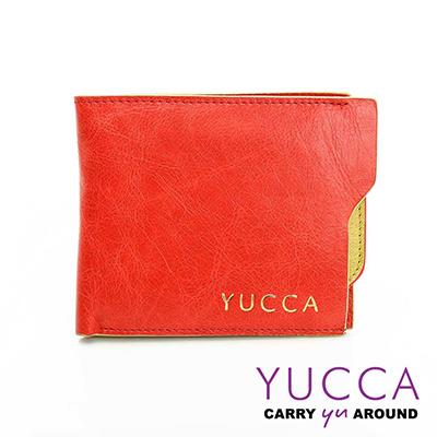 YUCCA -個性雙色系牛皮短夾(活動式卡夾)-橘色- D0038003030