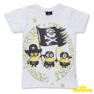 Minions-勇敢海盜小小兵短袖T恤-白(童)