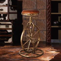 MUSE Battista巴蒂斯塔復古車輪牛皮吧台椅