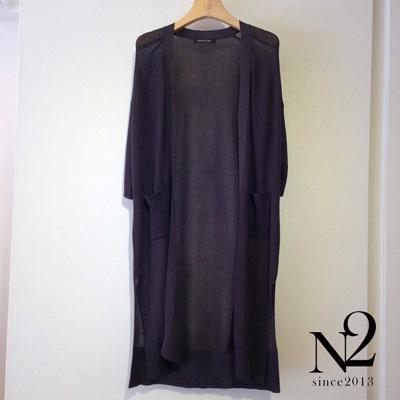罩衫-七分袖開衩長版薄針織外套-深灰-N2