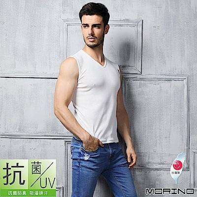 抗菌防臭速乾無袖T恤 V領 素T (白色) MORINO摩力諾 男內衣