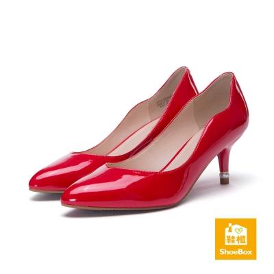 達芙妮DAPHNE-dulala系列-高跟鞋-鏡面波浪尖頭高跟鞋-紅