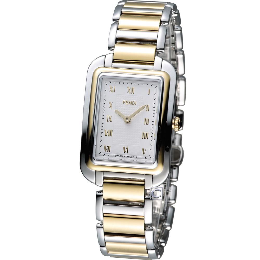 FENDI Classico 古典優雅時尚腕錶-銀x雙色/25x36mm
