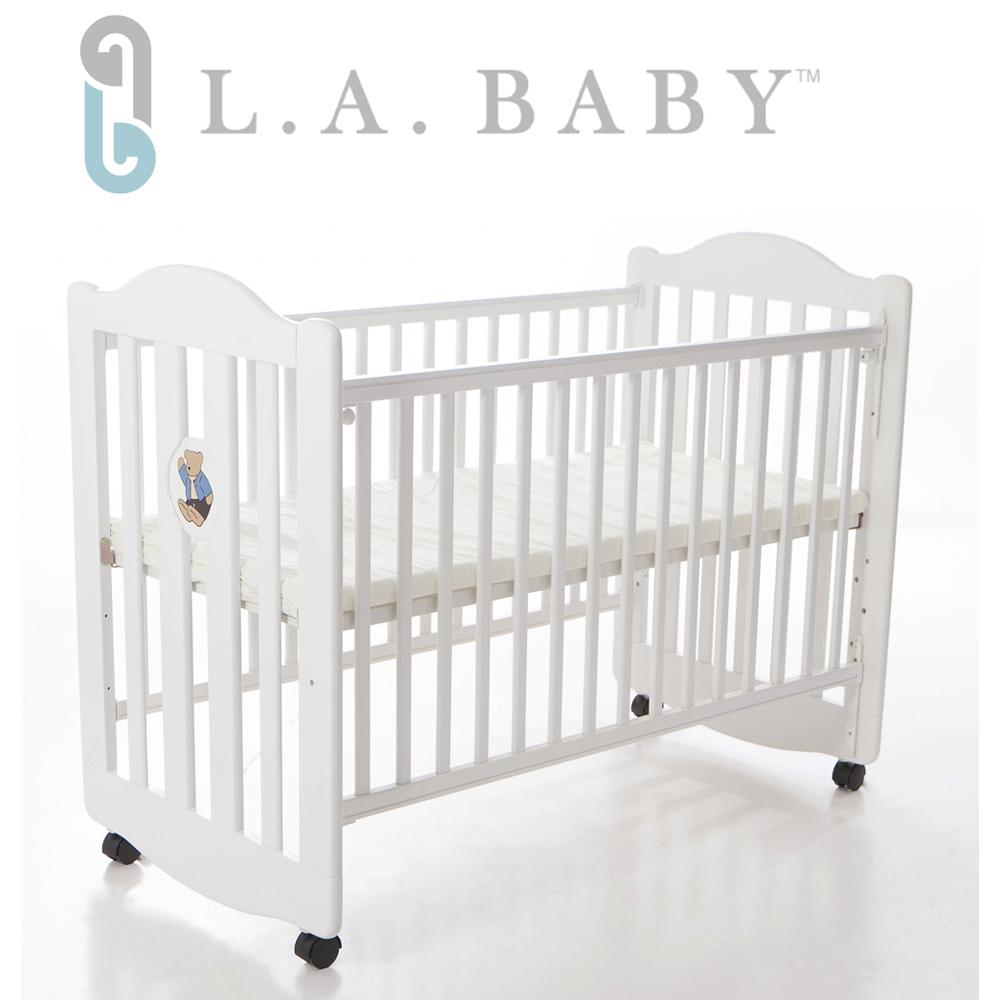 【美國 L.A. Baby】凱麗熊搖擺中小嬰兒床/原木 (白色)