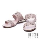 拖鞋 HELENE SPARK 鏤空雕花沖孔牛皮字帶厚底拖鞋-粉