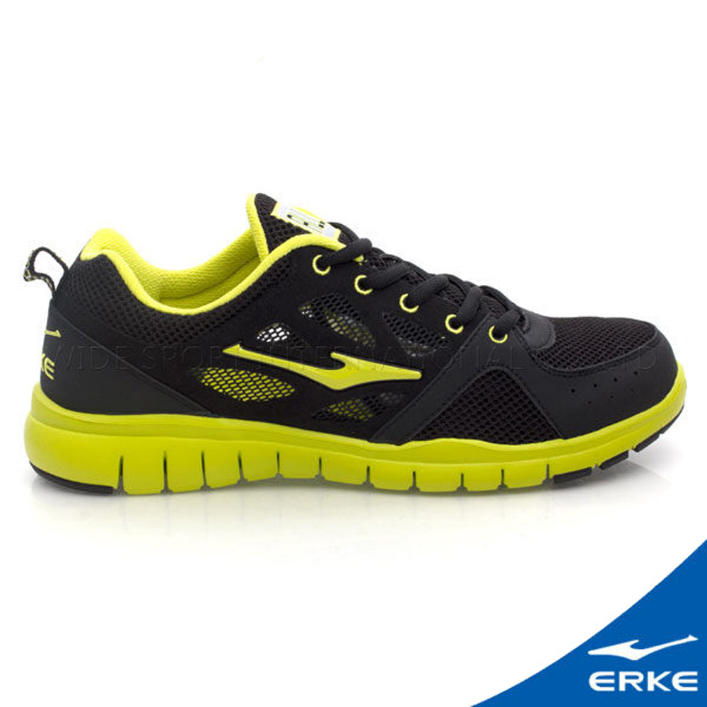 ERKE 鴻星爾克。男運動綜訓慢跑鞋-黑/黃