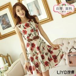 LIYO理優洋裝MIT印花無袖洋裝(紅)